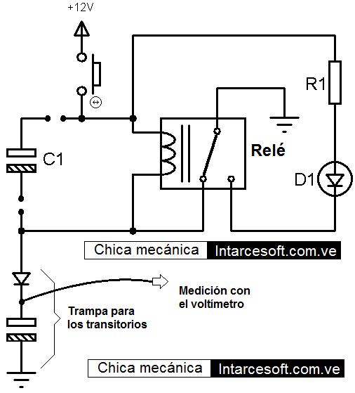 oscilador de rele con transitorios de bobina