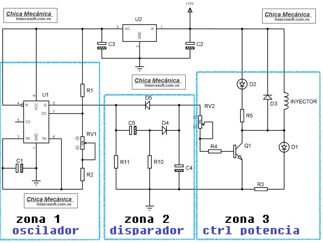 explicacion circuito generador de pulsos inyector