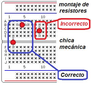 conexión correcta de un circuito integrado en protoboard