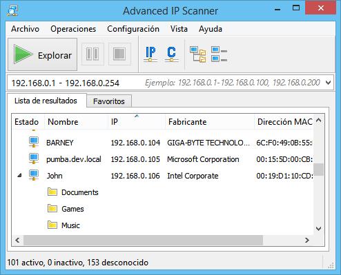 pantalla principal advanced ip scanner