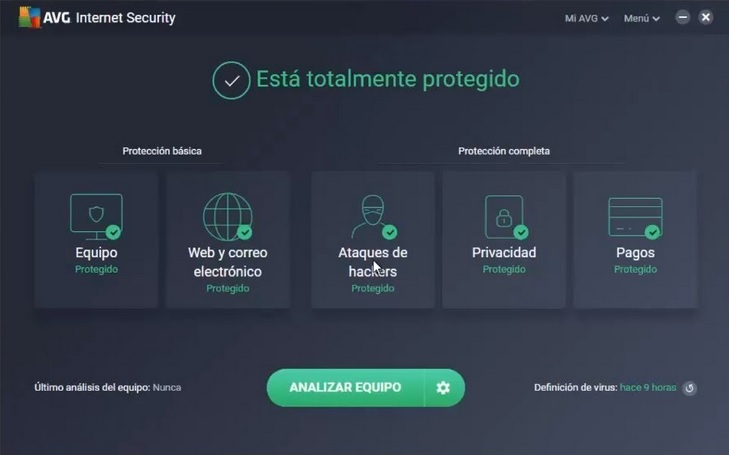 pantalla avg internet security