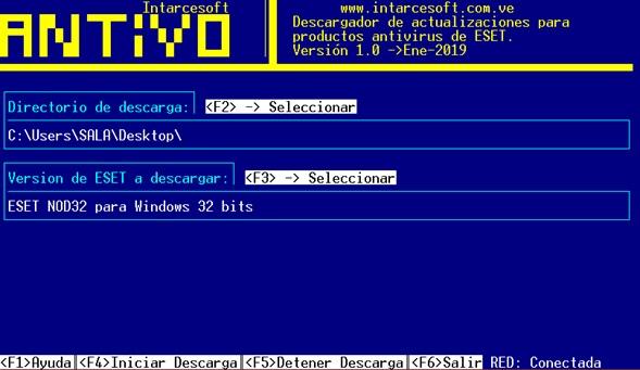 pantalla principal de antivo, descargador de actualizaciones eset