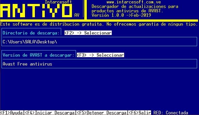 pantalla principal de antivo av, descargador de actualizaciones eset